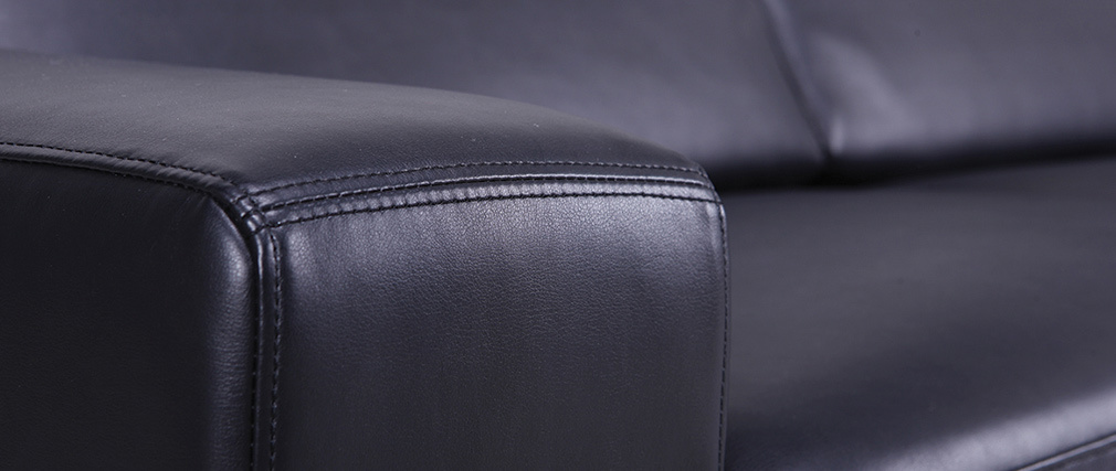 Canapé cuir convertible ouverture express 3 places noir vintage STRATFORD - cuir de vache