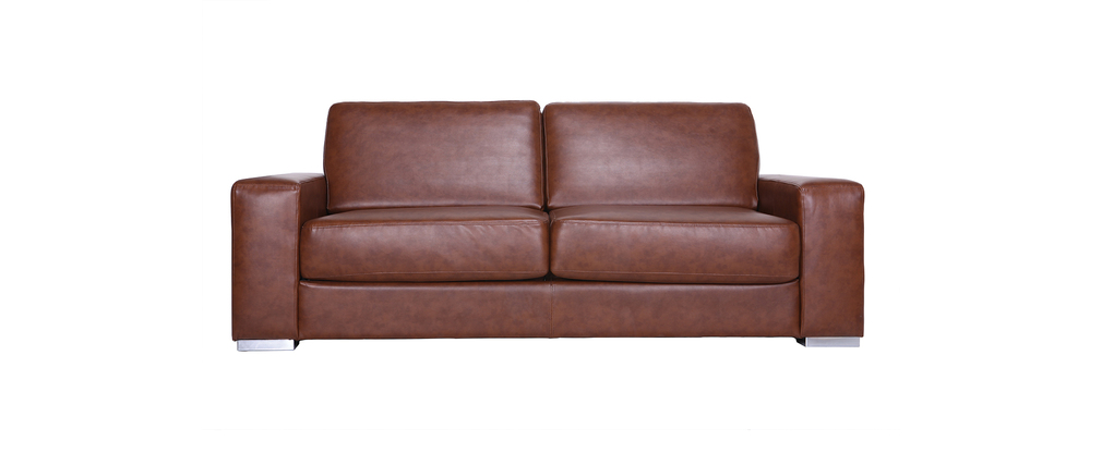 canap cuir convertible rapido 3 places camel vintage stratford miliboo. Black Bedroom Furniture Sets. Home Design Ideas