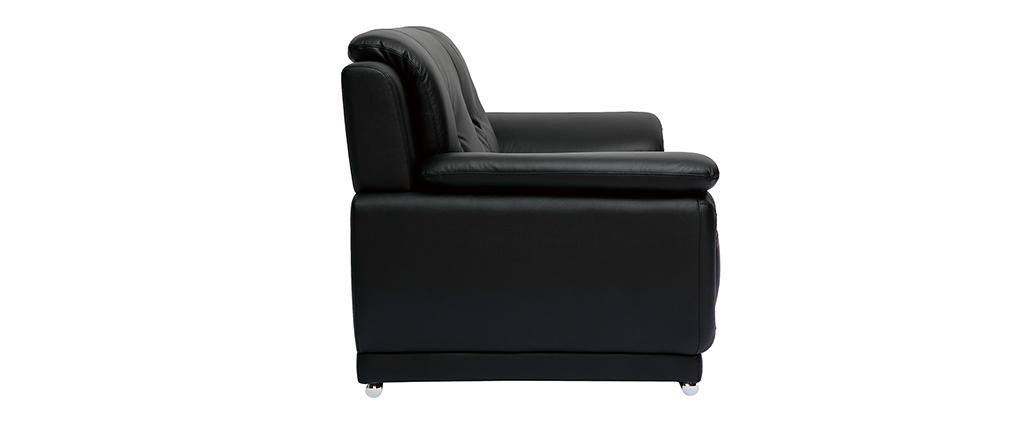 Canapé cuir design 2 places noir TAMARA - cuir de buffle