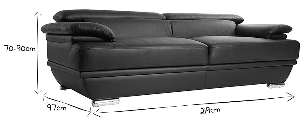 Canapé cuir design 3 places avec têtières ajustables noir EWING - cuir de buffle
