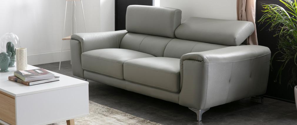 canapé cuir design 3 places avec têtières relax gris NEVADA - cuir de buffle