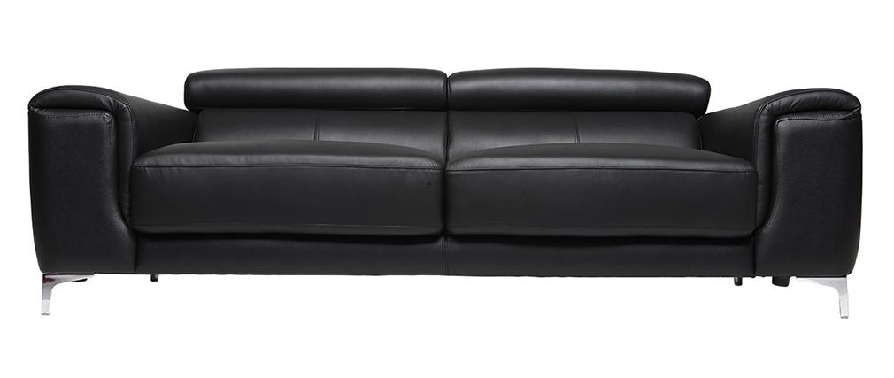 canapé cuir design 3 places avec têtières relax noir NEVADA - cuir de buffle