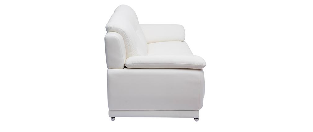 Canapé cuir design 3 places blanc TAMARA - cuir de buffle