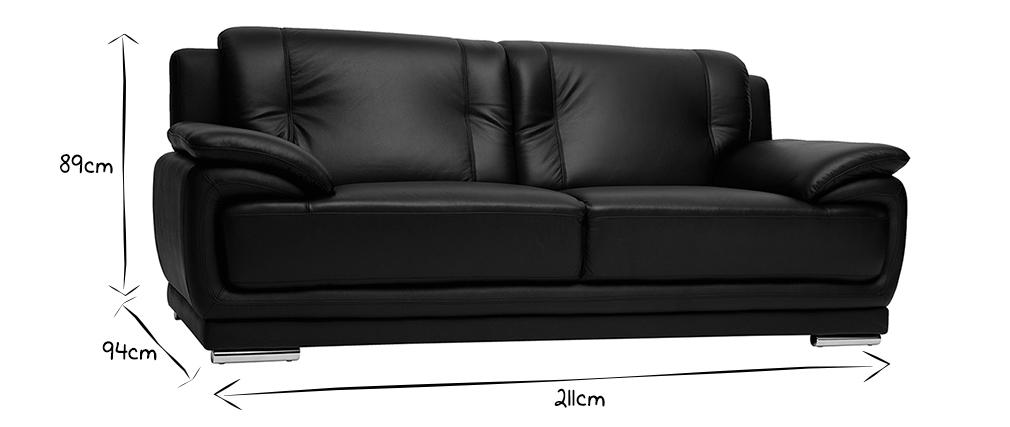 Canapé cuir design 3 places noir TAMARA - cuir de buffle