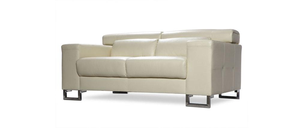 canap cuir design beige deux places t ti res relax beige. Black Bedroom Furniture Sets. Home Design Ideas