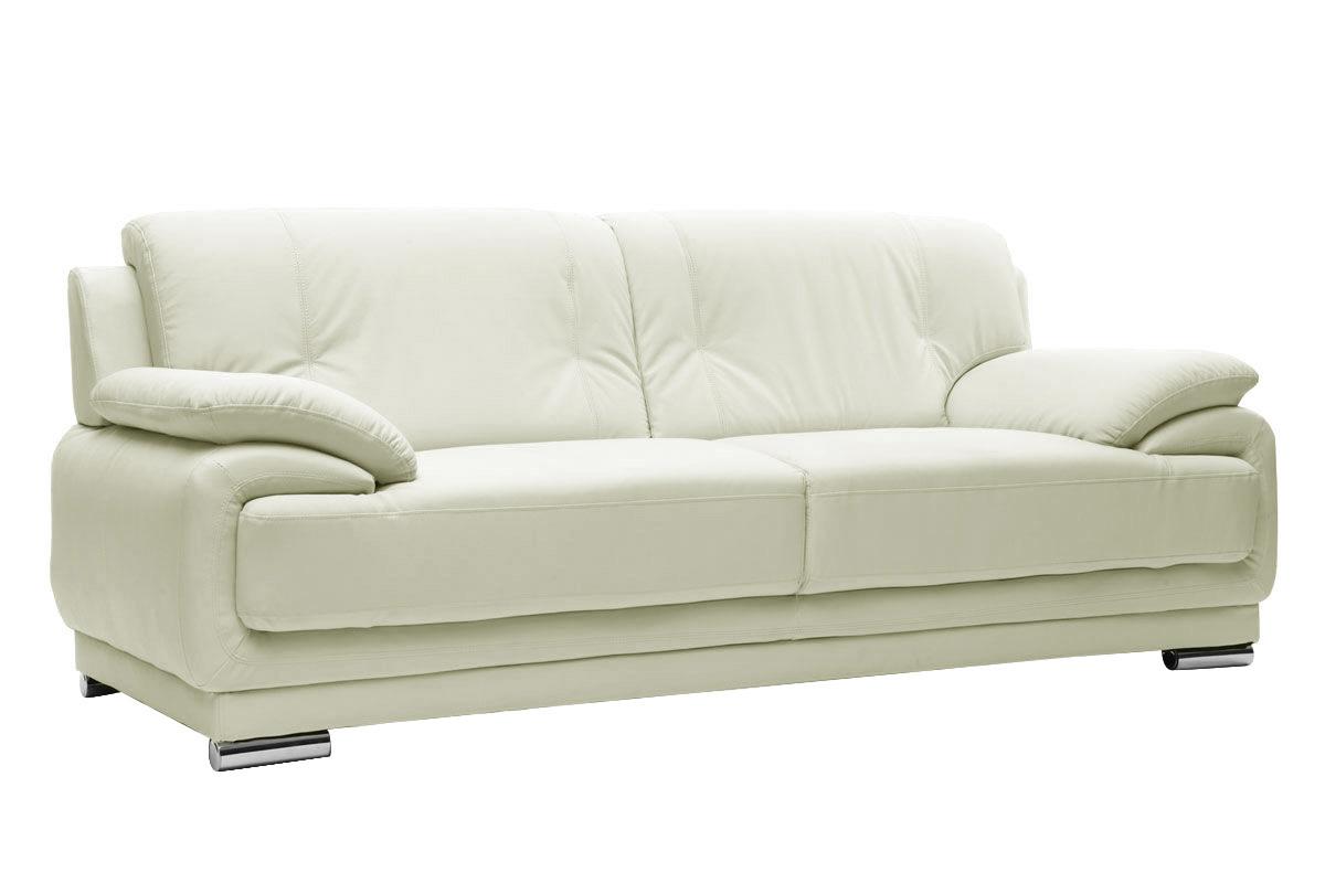 canap cuir design blanc 3 places tamara cuir de vache miliboo. Black Bedroom Furniture Sets. Home Design Ideas