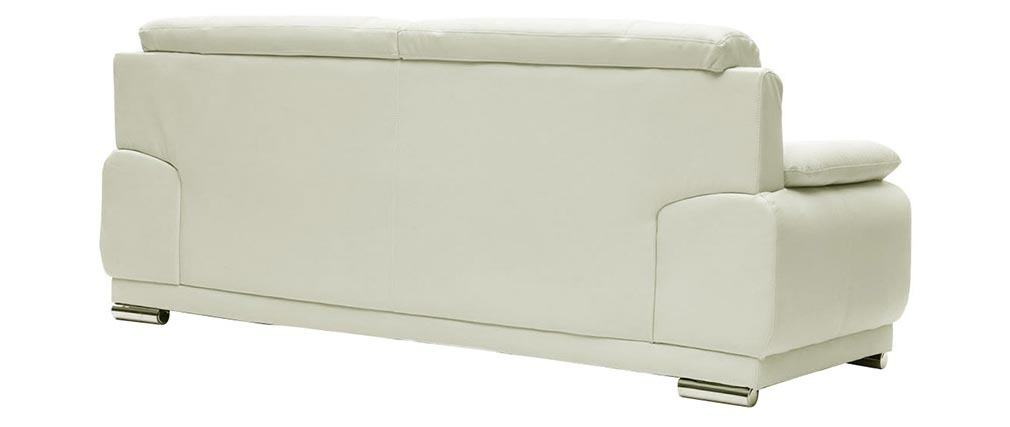 Canapé cuir design blanc 3 places TAMARA - cuir de vache