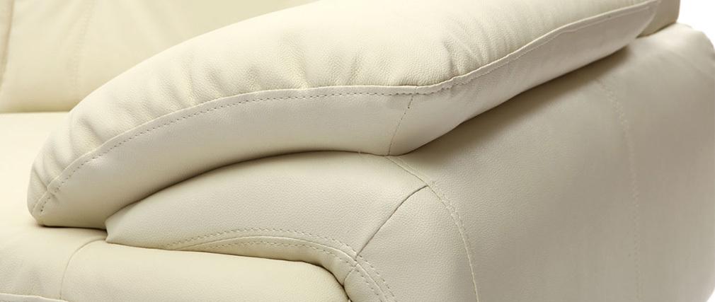 Canapé cuir design crème 2 places TAMARA - cuir de vache