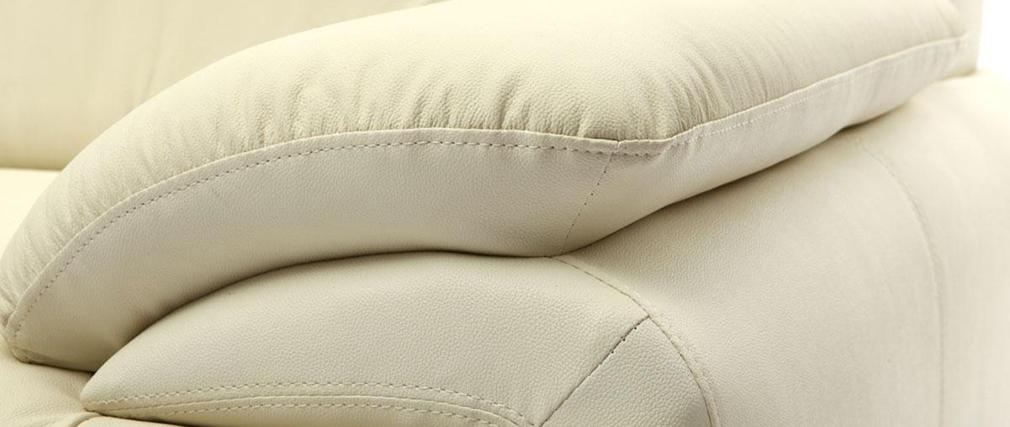 Canapé cuir design crème 3 places TAMARA-  cuir de vache