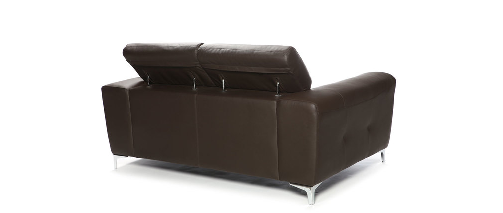 Canap cuir design deux places avec t ti res relax for Canape cuir de buffle