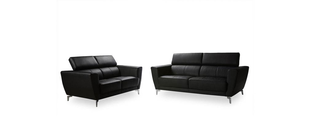 canap cuir design deux places avec t ti res relax noir idaho cuir de vachette miliboo. Black Bedroom Furniture Sets. Home Design Ideas