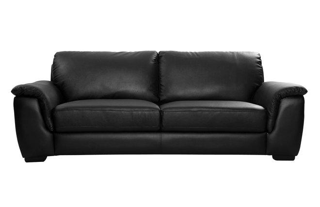 canap cuir design noir 3 places memphis miliboo. Black Bedroom Furniture Sets. Home Design Ideas