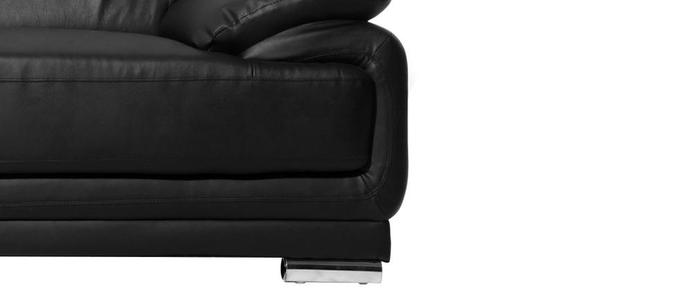 Canapé cuir design noir 3 places TAMARA - cuir de vache