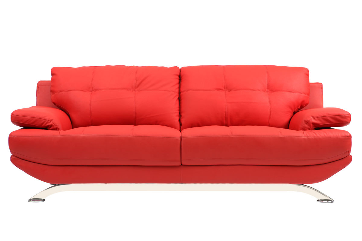 Canap Cuir Design Rouge 2 Places Buffalo Miliboo