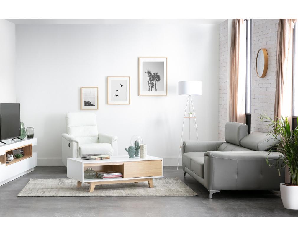 Salon Cuir Buffle Italien canapé cuir design trois places avec têtières relax blanc