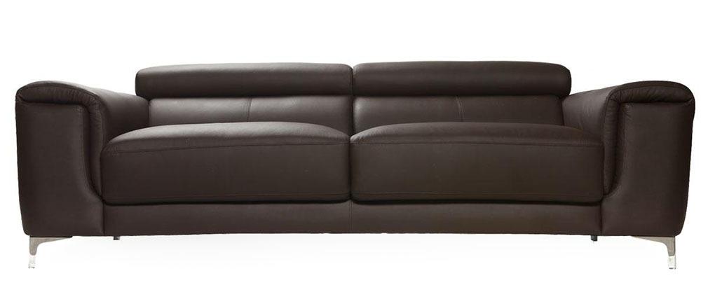 Canapé cuir design trois places avec têtières relax chocolat NEVADA - cuir de buffle