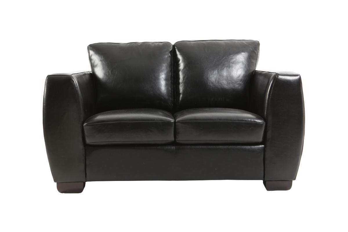 Canap cuir noir 2 places new chicago miliboo - Canape noir 2 places ...