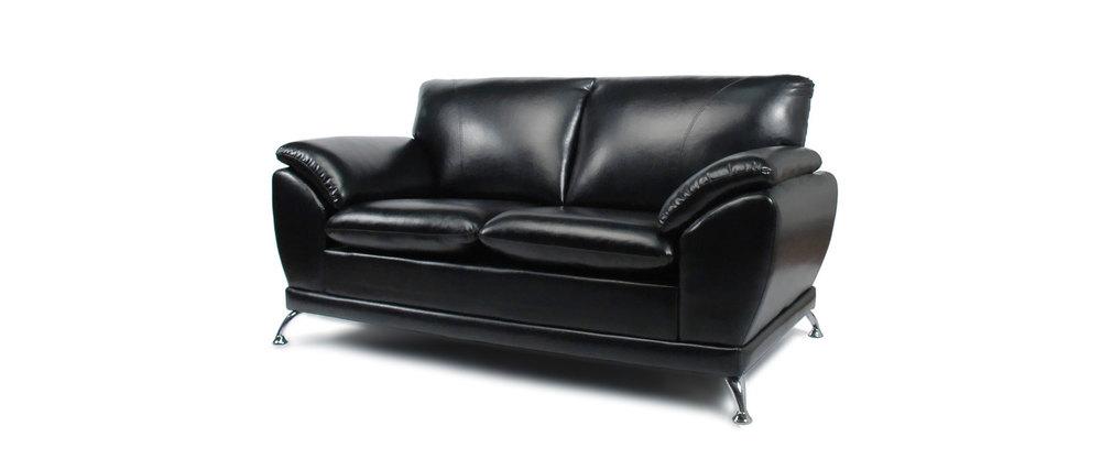 Canap cuir noir 2 places new york cuir de buffle miliboo - Canape 2 places cuir buffle ...