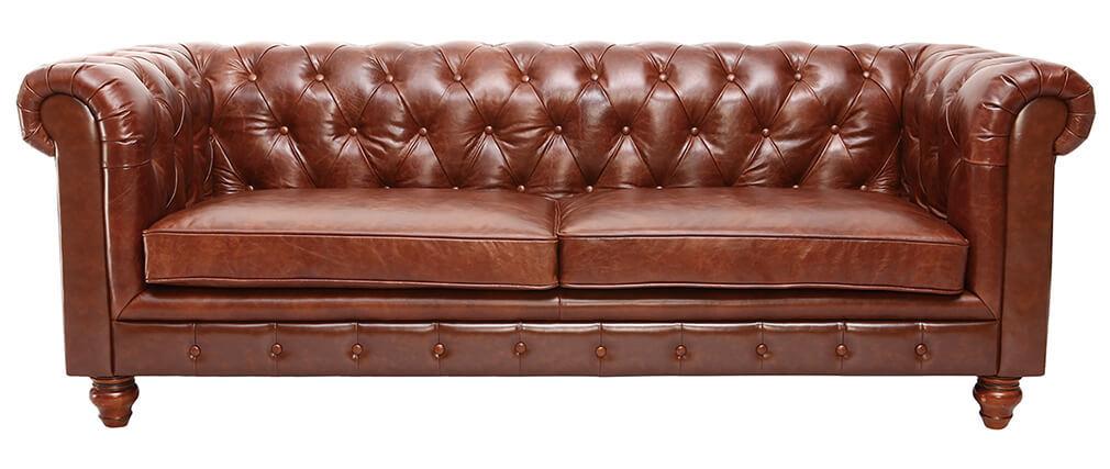 Canapé cuir vintage 3 places CHESTERFIELD - cuir de buffle
