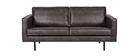 Canapé cuir vintage noir 3 places ASPEN - cuir de vache reconstitué