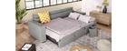 Canapé d'angle convertible 3 places avec têtières ajustables et coffre gris LEONE