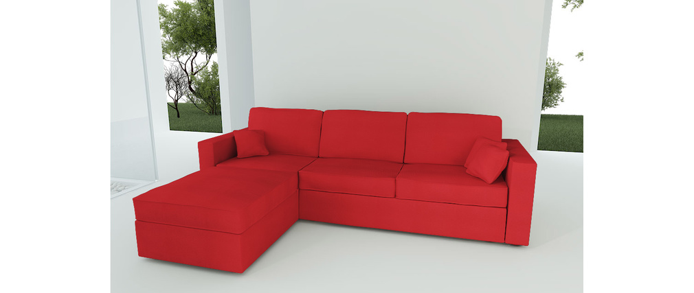 Canap d 39 angle convertible 4 5 places en coton couleur rouge miliboo - Canape convertible couleur ...