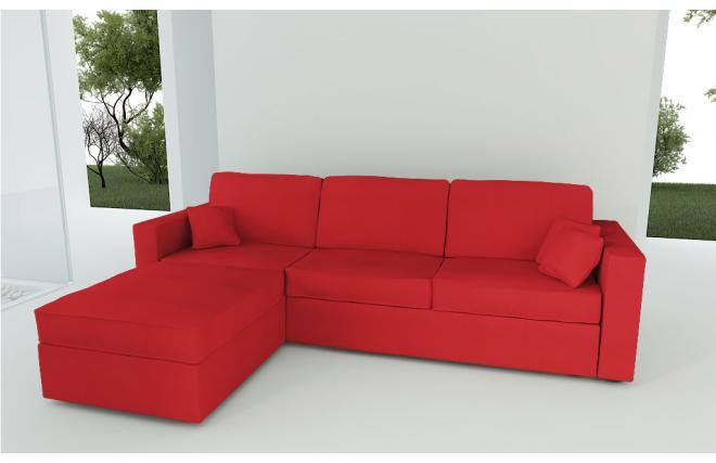 Canap d 39 angle convertible 4 5 places en coton couleur rouge miliboo - Canape d angle rouge convertible ...