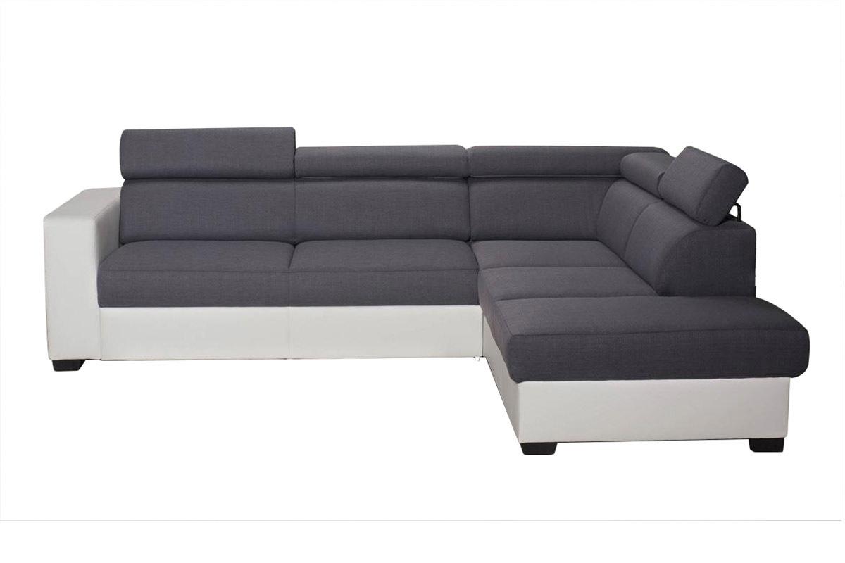 Canap d 39 angle convertible gris et blanc avec t ti res for Prix de canape