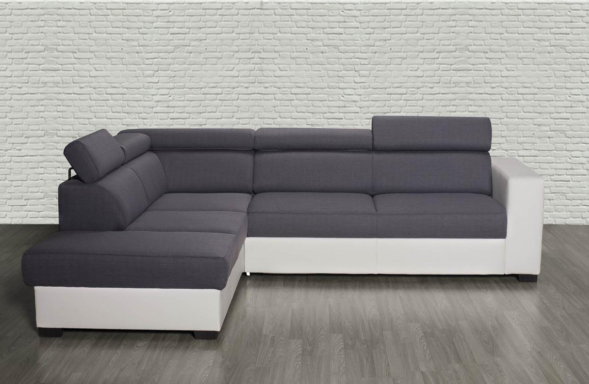 canap d 39 angle convertible gris et blanc avec t ti res. Black Bedroom Furniture Sets. Home Design Ideas