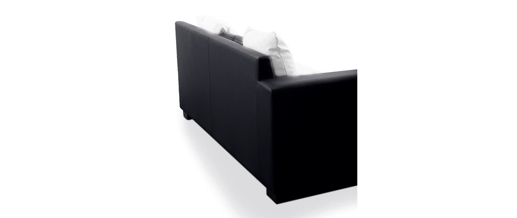 Canap d 39 angle design 4 5 places noir et blanc angle for Canape droit 4 5 places