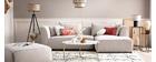 Canapé d'angle droit modulable tissu beige PLURIEL