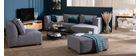 Canapé d'angle droit modulable tissu gris clair PLURIEL