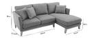Canapé d'angle droit scandinave gris clair déhoussable OSLO