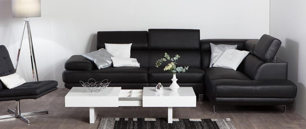 canap d 39 angle en cuir gris avec t ti res ajustables jenkins cuir de buffle miliboo. Black Bedroom Furniture Sets. Home Design Ideas