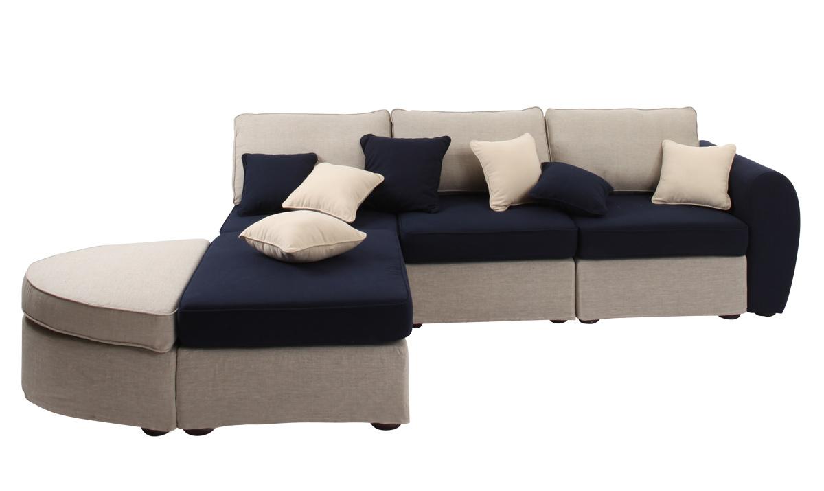 Canap d 39 angle en lin naturel et coton bleu marine up to you miliboo - Canape payer en 4 fois ...