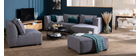 Canapé d'angle gauche modulable en tissu gris clair PLURIEL