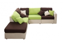 Canapé d'angle modulable 6 places chocolat, anis et beige UP TO YOU