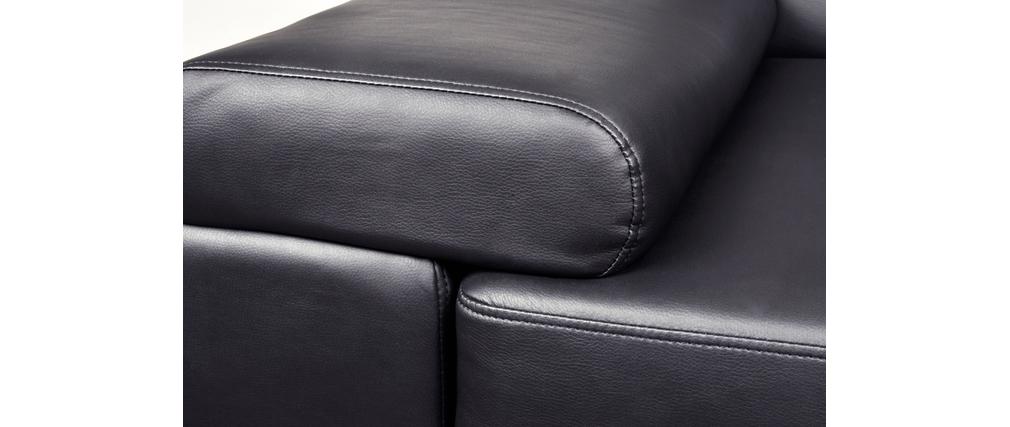 canap d 39 angle noir moderne 5 places appui t tes ajustables baltimore miliboo. Black Bedroom Furniture Sets. Home Design Ideas
