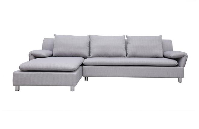 Canapé Dangle Réversible Design Gris Clair BRASILIA Miliboo - Canapé d angle gris clair