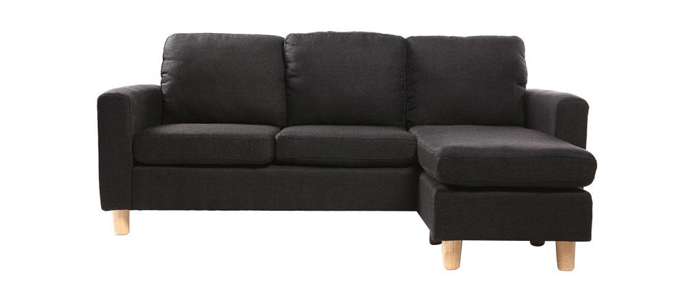 canap d 39 angle r versible design noir pieds bois alamo. Black Bedroom Furniture Sets. Home Design Ideas
