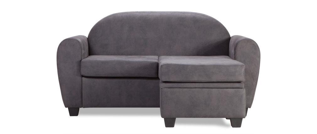 Canap d 39 angle r versible design petit mod le effet cuir for Petit canape gris