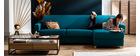 Canapé d'angle réversible et convertible avec coffre bleu canard GRAHAM