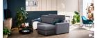 Canapé d'angle réversible et convertible avec coffre et têtières ajustables gris NORO