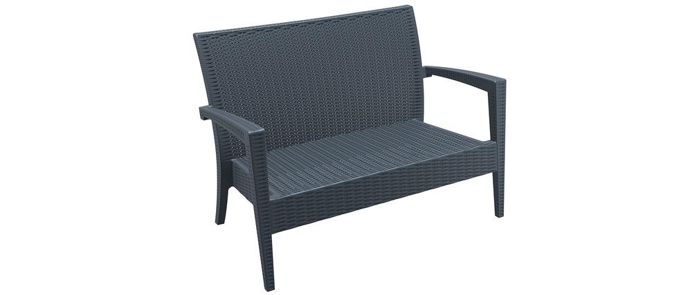 Canapé de jardin en résine tressée grise SAMOA