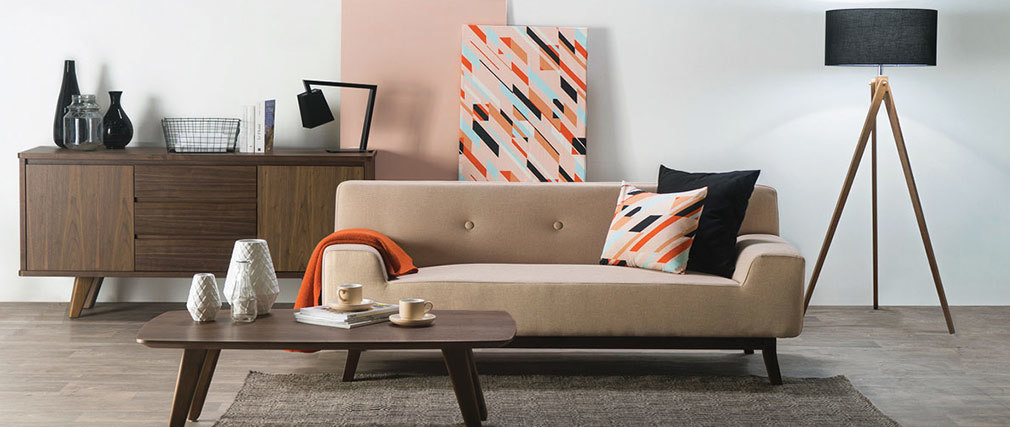 Canapé design 2-3 places beige et bois foncé VILA