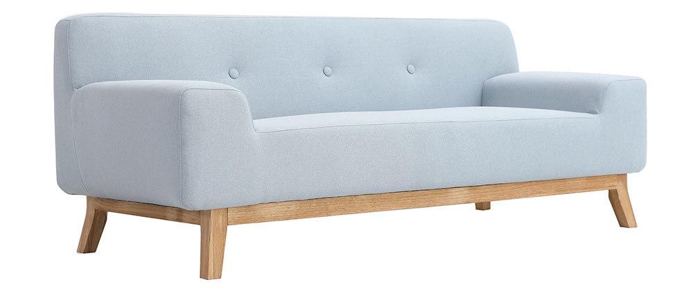 Canapé design 2-3 places bleu et bois clair VILA