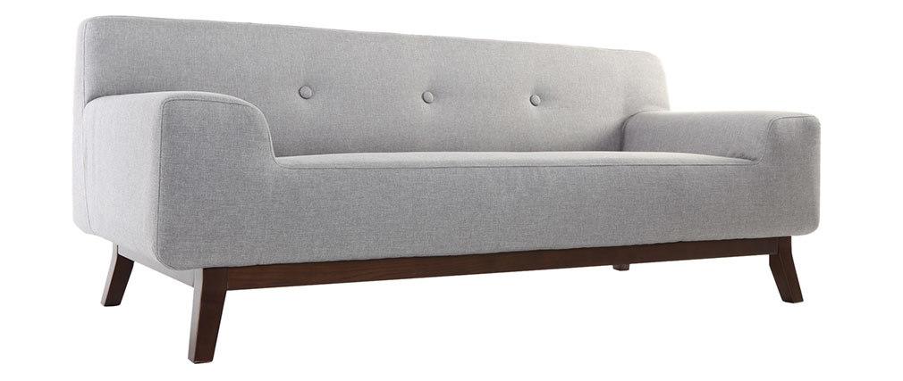Canapé design 2-3 places gris et bois foncé VILA
