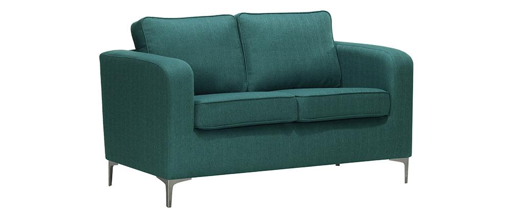Canapé design 2 places bleu canard HARRY