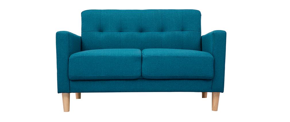 Canapé design 2 places bleu canard MOON
