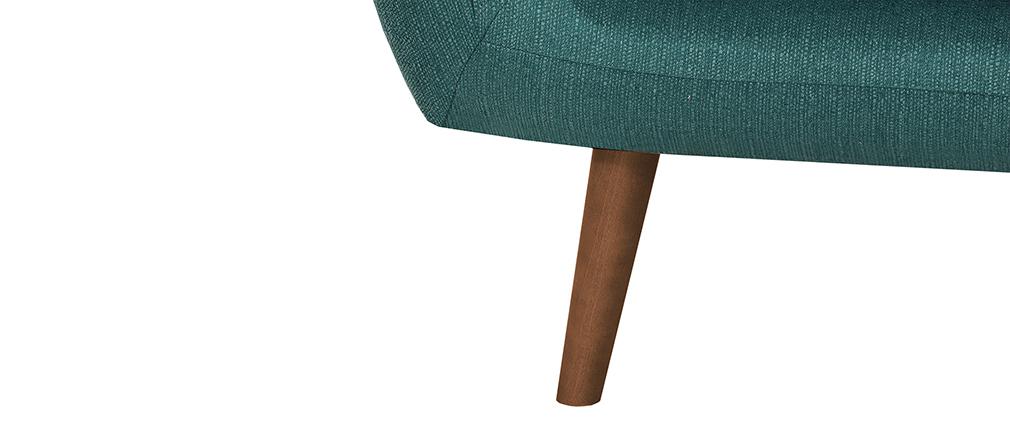 Canapé design 2 places bleu canard pieds noyer OLAF